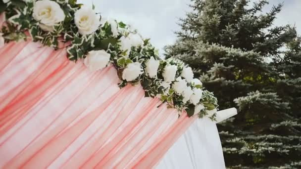 Wedding decoration of the arch wedding arch decorated with flowers wedding decoration of the arch wedding arch decorated with flowers stock video junglespirit Choice Image