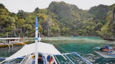 Coron, Philippines - January 5, 2018: Twins lagoon with cliffs. Coron. Palawan. Philippines.