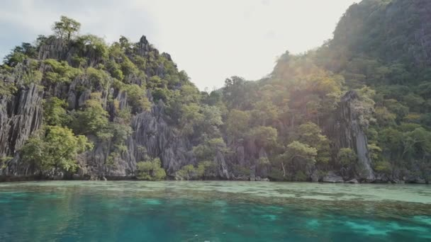 Twins lagoon with cliffs. Coron. Palawan. Philippines. Video in motion.