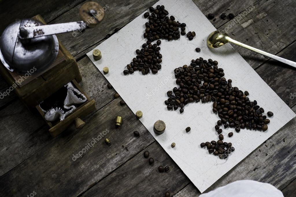 australien gammal karta karta över världen, kaffebönor på gamla papper. Eurasien, Amerika  australien gammal karta