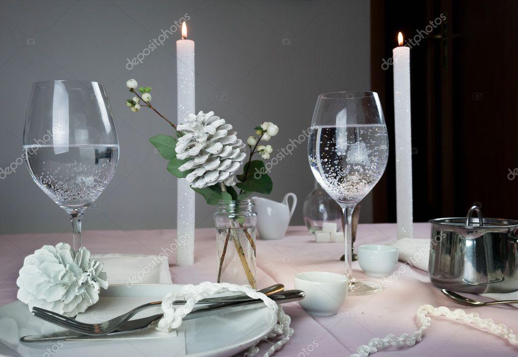 Elegante Tischdekoration Weihnachten Romantisches Abendessen