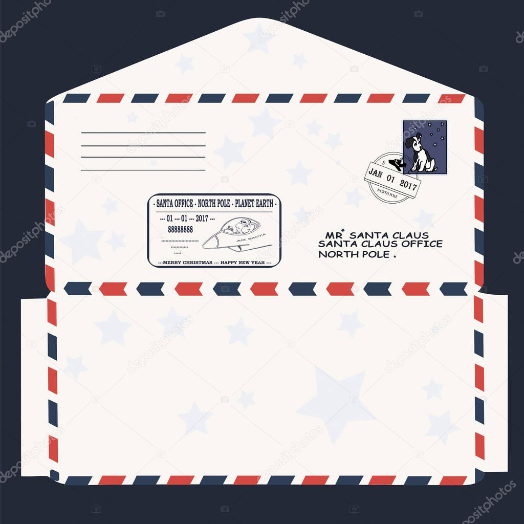 Christmas New Year Letter To Santa Claus Template Envelope