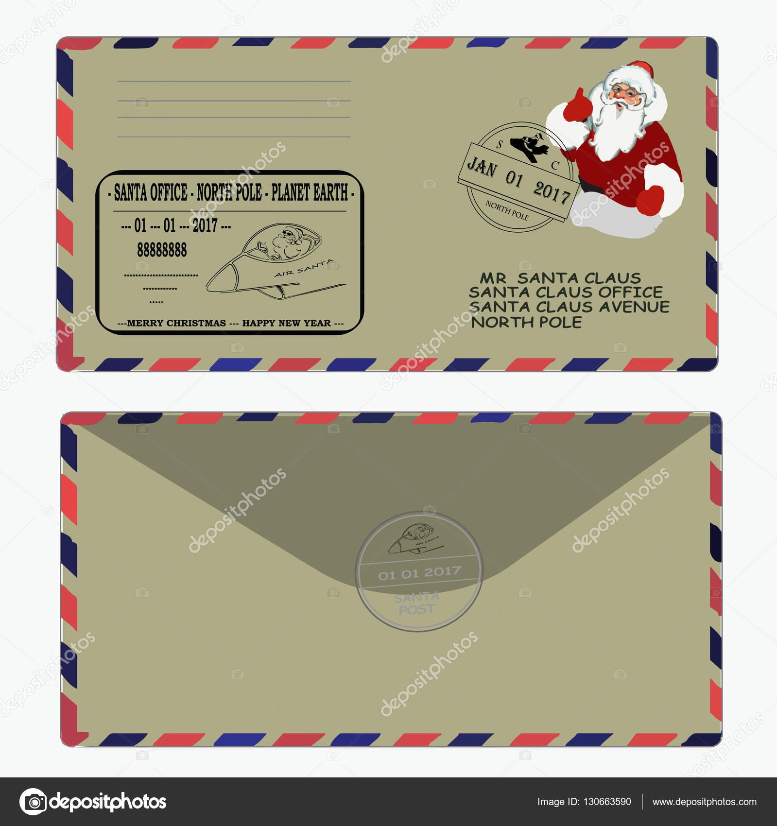クリスマス新年サンタ クロースへの手紙テンプレート封筒切手