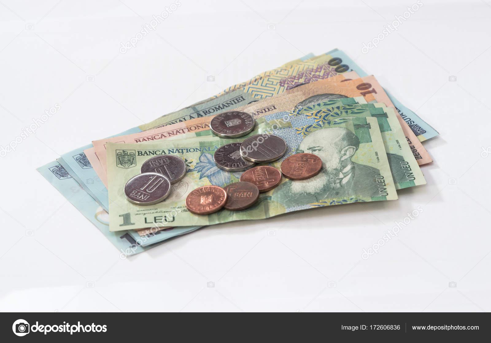 Mehrere Banknoten Wert 100 10 Und 1 Rumänischen Lei Mit Mehreren