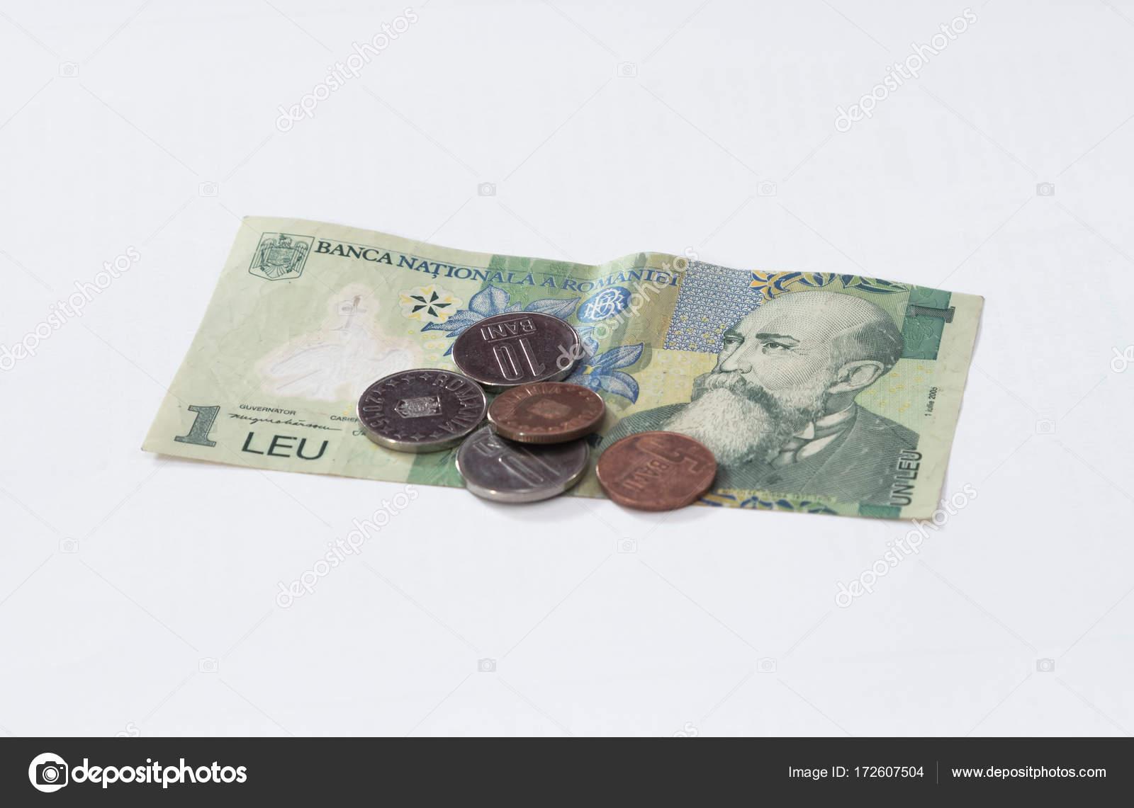Eine Banknote Im Wert Von 1 Isoliert Rumänischer Leu Mit Mehreren