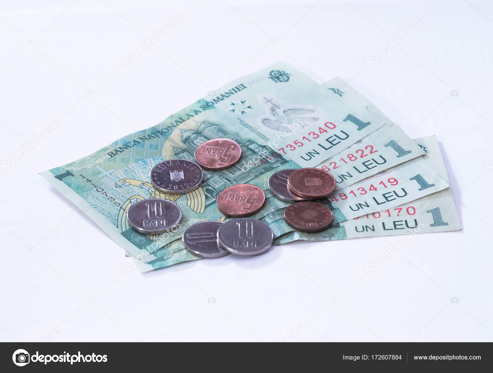 Vier Banknoten Im Wert Von 1 Isoliert Rumänischer Leu Mit Mehreren