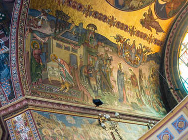 Painting on the ceiling of Holy Trinity Cathedral. Sibiu city in Romania