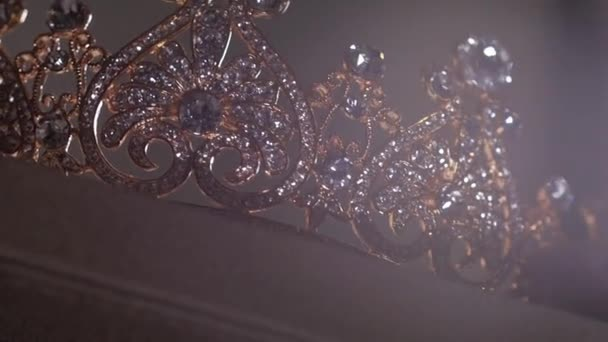 An up close image of a wedding crown in luxury Jewelry shop