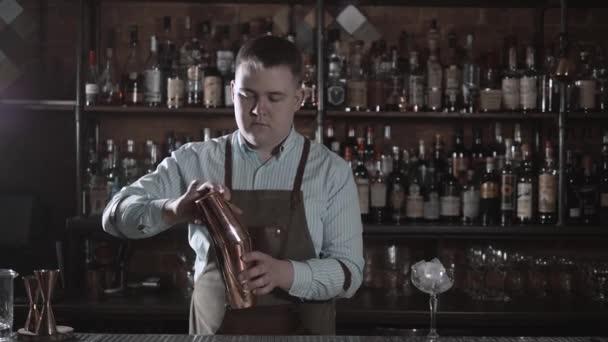 Gut aussehend Barkeeper lächelnd in die Kamera macht einen Cocktail an der Bar und schütteln