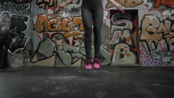 Beautiful Sporty Woman Workout With Jumping Rope In Crossfit Gym Sexy Girl Athlete Jump