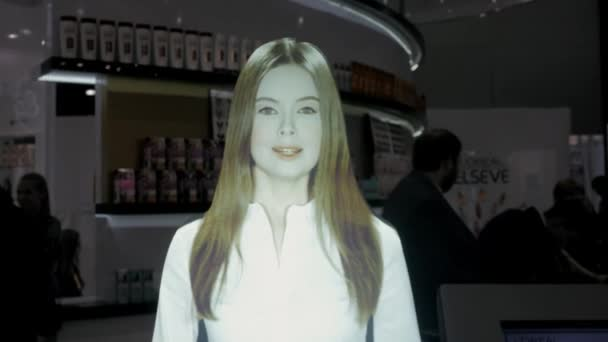 21 března, 2018, Moskva, Rusko: Metro Expo obchodních, technologických a call centrum koncept - přátelské ženské linka operátora hologram zobrazení událostí expo virtuální asistent robota