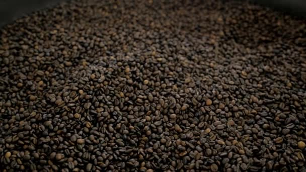Zrna pražené kávy - expo detail velké akci pečení stroj