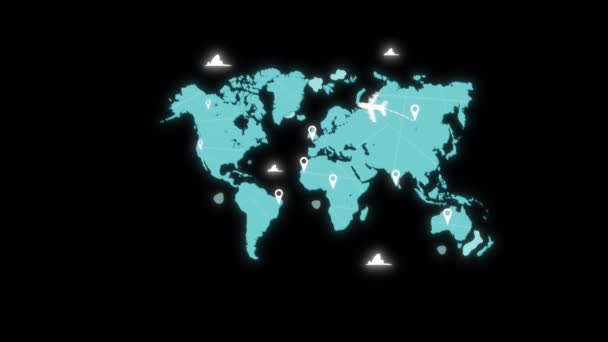 3d animation motion design Airplanes flying according to routes around world map. World map with airplanes travel alpha channel