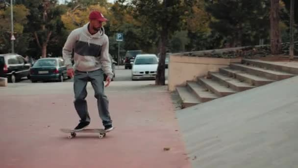 Professional skater jump with kickflip flip trick on board, skateboarder ollie, skateboarding - street extreme sport