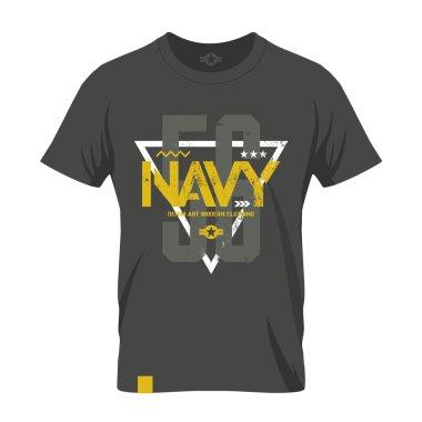 Modern american navy grunge effect tee print vector design illustration.