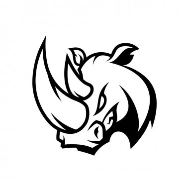 Furious rhino sport mono vector logo concept isolated on white background.