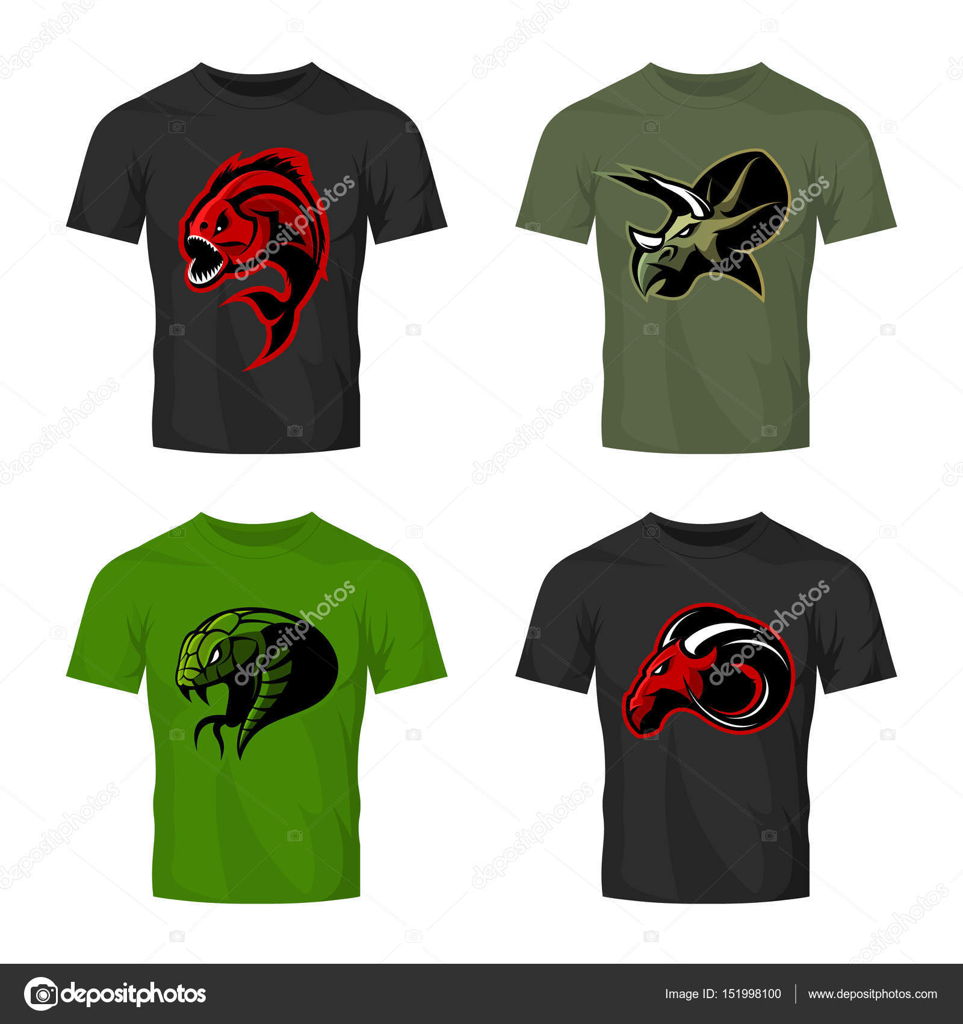 Scalable t shirt mockups more info - Furious Piranha Ram Snake And Dinosaur Head Sport Vector Logo Concept Set On T Shirt Mockup Modern Team Mascot Badge Design Premium Quality Wild Animal