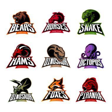 Bear, horse, snake, ram, fox, piranha, dinosaur, octopus head isolated vector logo concept.