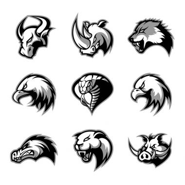 Bull, rhino, wolf, eagle, cobra, alligator, panther, boar head isolated vector logo concept set.