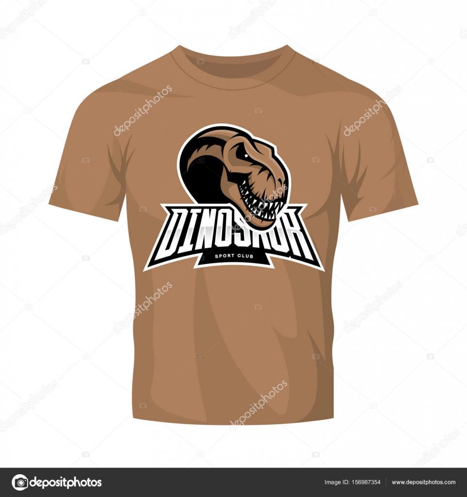 Concept Logo Vector De Dinosaure Tete Sport Club Isole Sur Maquette T Shirt Marron