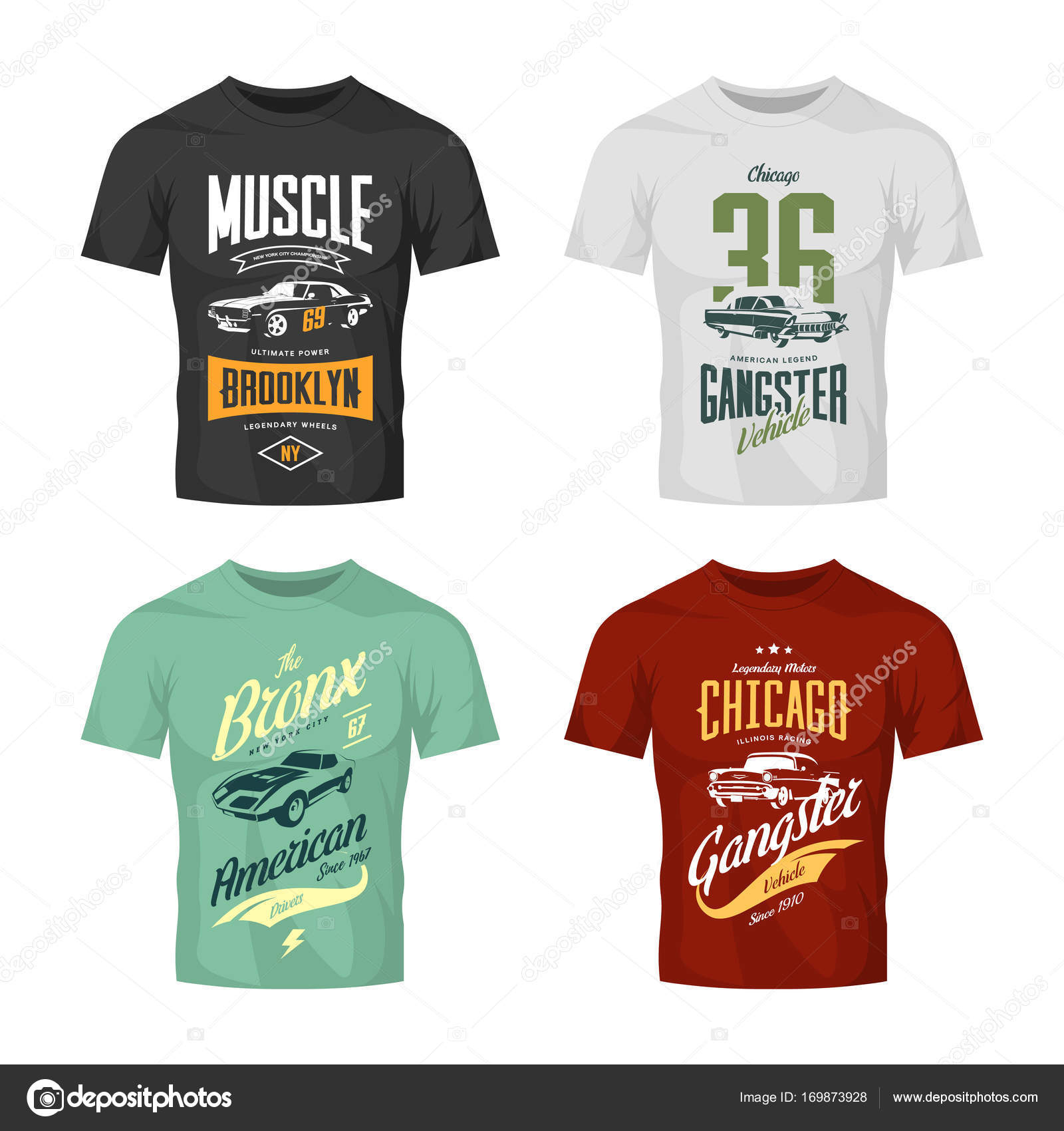 fd8c2b3e Vintage classic gangster and muscle car vector t-shirt logo mock up set —  Stock