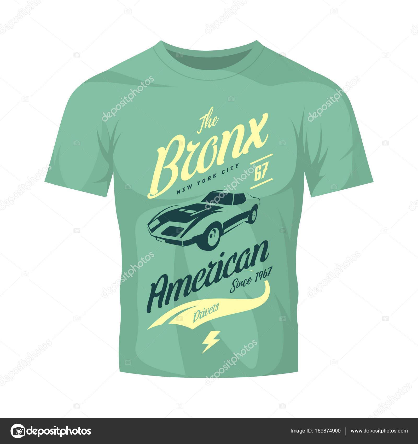 American Muscle Car Vector Tee Shirt Logo On Light T Shirt Mock Up