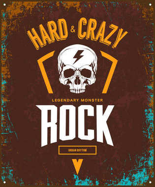 Vintage hard and crazy rock vector t-shirt logo isolated on dark background.