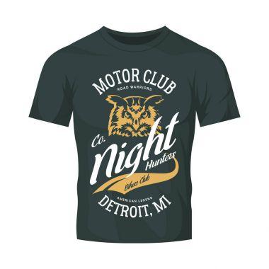 Vintage bikers club vector logo on dark t-shirt mock up.Premium quality owl bird night hunter logotype tee-shirt emblem illustration. Detroit, Michigan street wear superior retro tee print design.