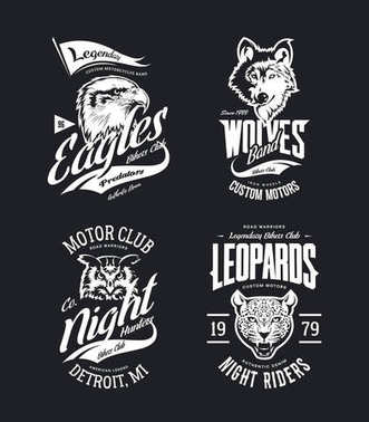 Vintage leopard, wolf, eagle and owl bikers club t-shirt vector isolated logo set.Premium quality motor band logotype tee-shirt emblem illustration. Wild animal mascot street wear tee print design.