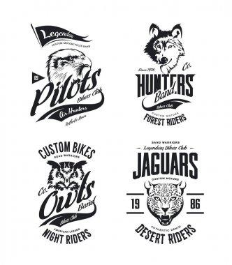 Vintage jaguar, wolf, eagle and owl bikers club t-shirt vector isolated logo set.Premium quality motor band logotype tee-shirt emblem illustration. Wild animal mascot street wear tee print design.