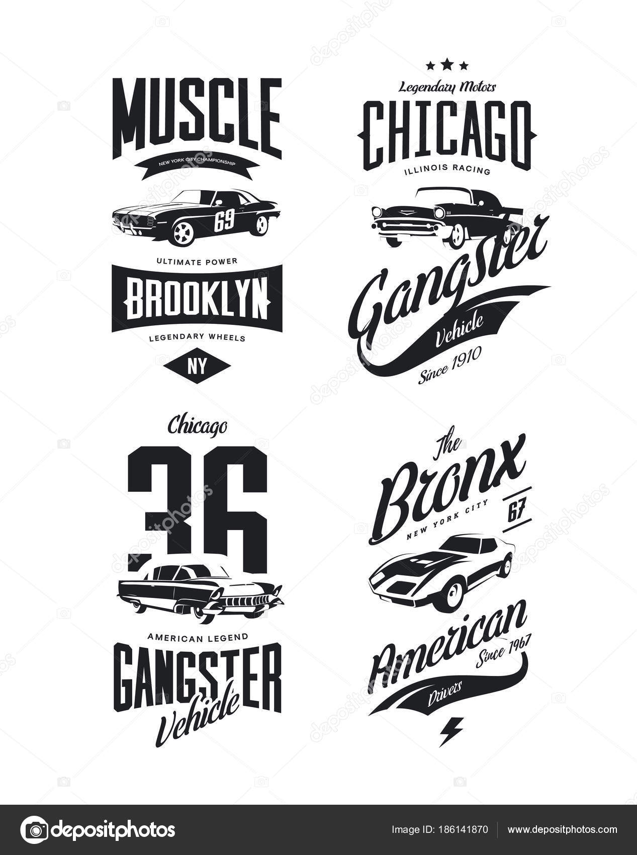 45f3770e1 Vintage Classic Gangster Muscle Car Vector Tee Shirt Logo Isolated — Stock  Vector