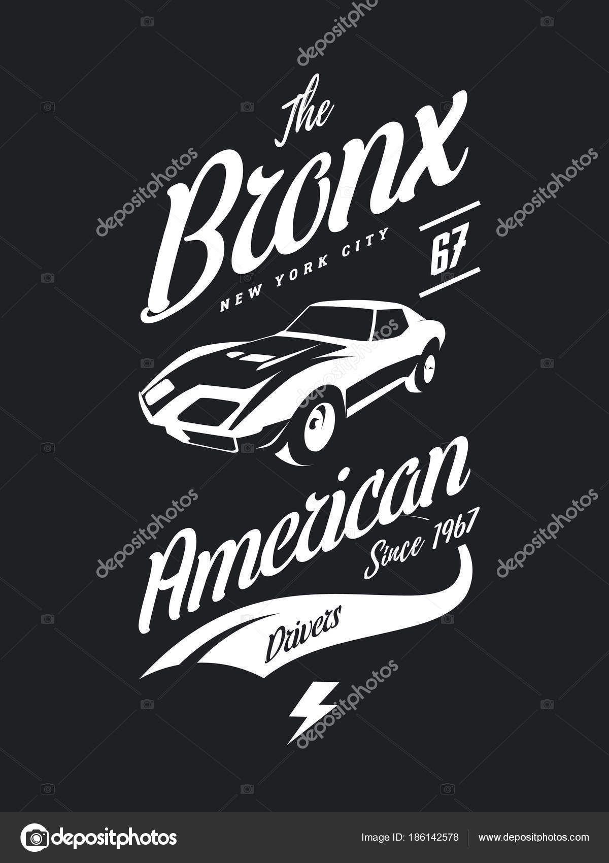 1355846b American Muscle Car Vector Tee Shirt Logo Isolated Dark Background– stock  illustration