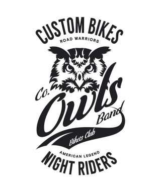 Vintage bikers club t-shirt vector logo on white background.Premium quality owl bird night rider logotype tee-shirt emblem illustration. Custom bikes street wear superior retro tee print design.