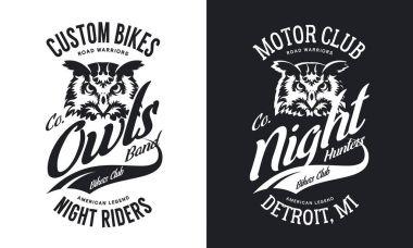 Vintage bikers club t-shirt black and white isolated vector logo.Premium quality owl bird night hunter logotype tee-shirt emblem illustration. Detroit, Michigan street wear superior retro tee print design.