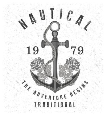 Vintage anchor with inscriptions
