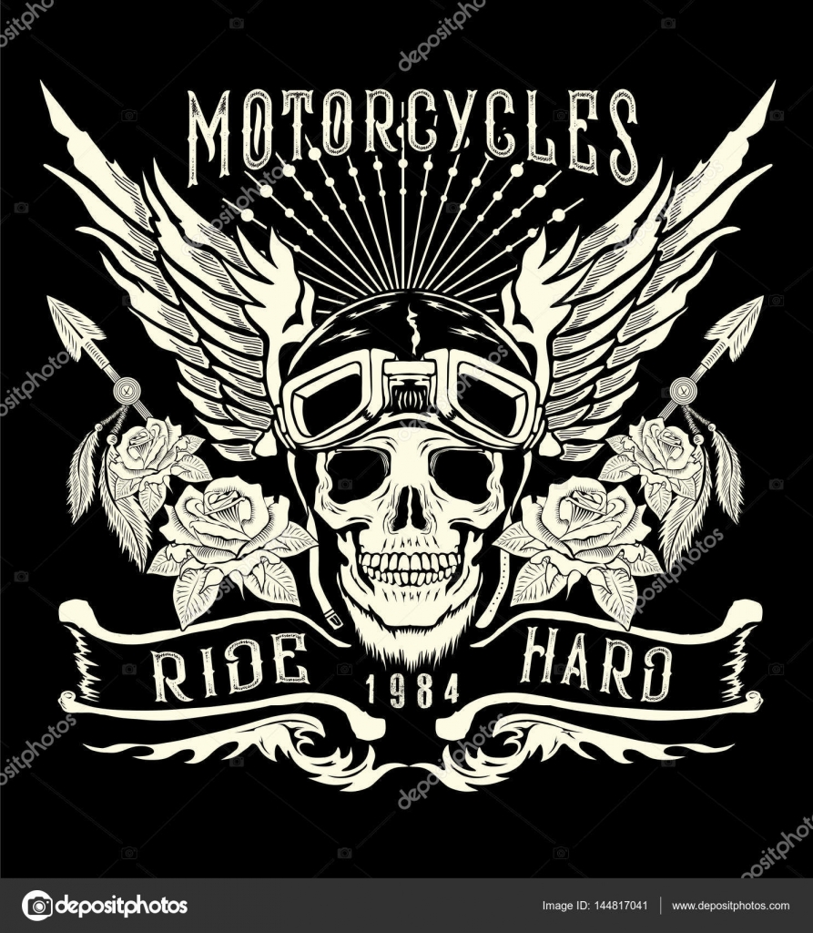 6e0540e5 Motorcycle skull with helmet, wings.Tattoo design and t shirt printing —  Vector by VECTURE