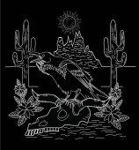 Fotografia Corvo e desert cactus