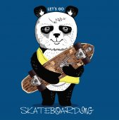 Photo Print with skateboarding panda