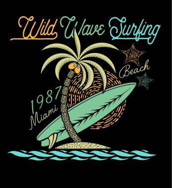 Wild wave surfing poster