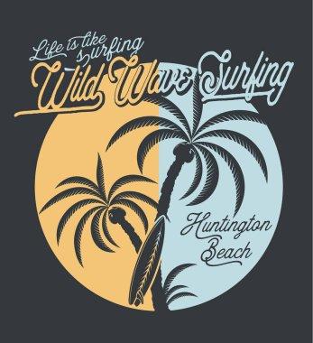 Wild wave surfing poster