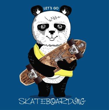 Print with skateboarding panda
