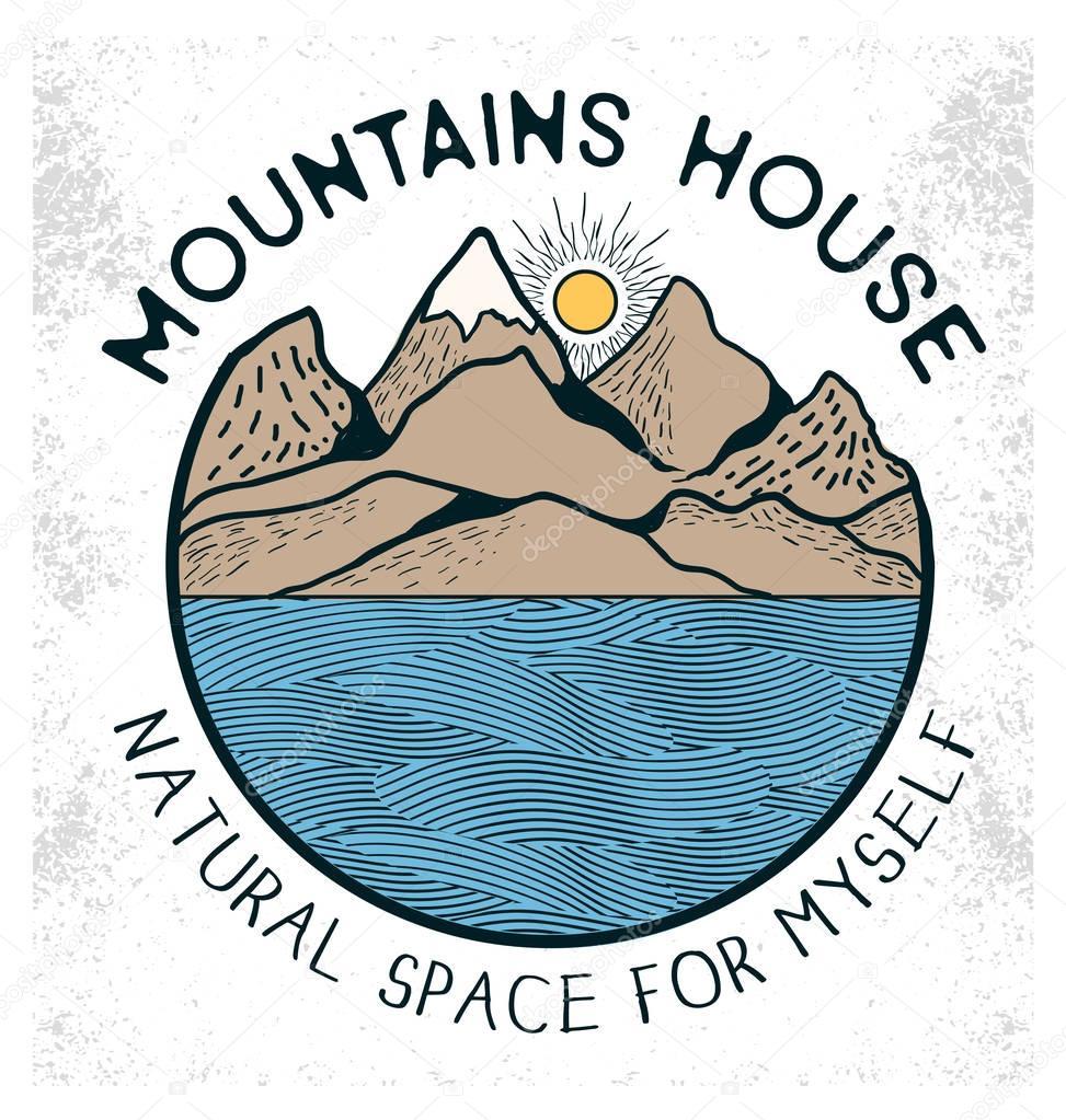 Lake and mountains illustration