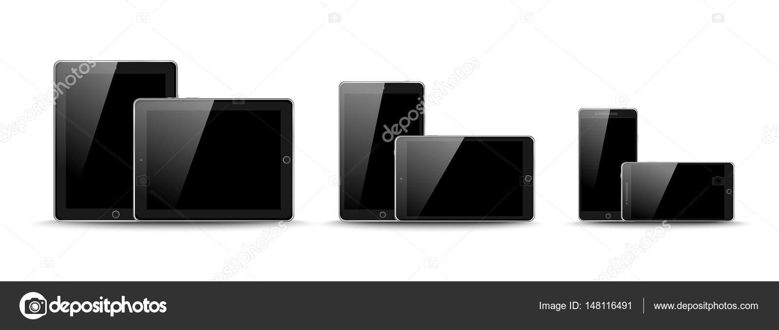 Set Di Dispositivi Portatili Realistici Mini Pad Di Nero Tablet E