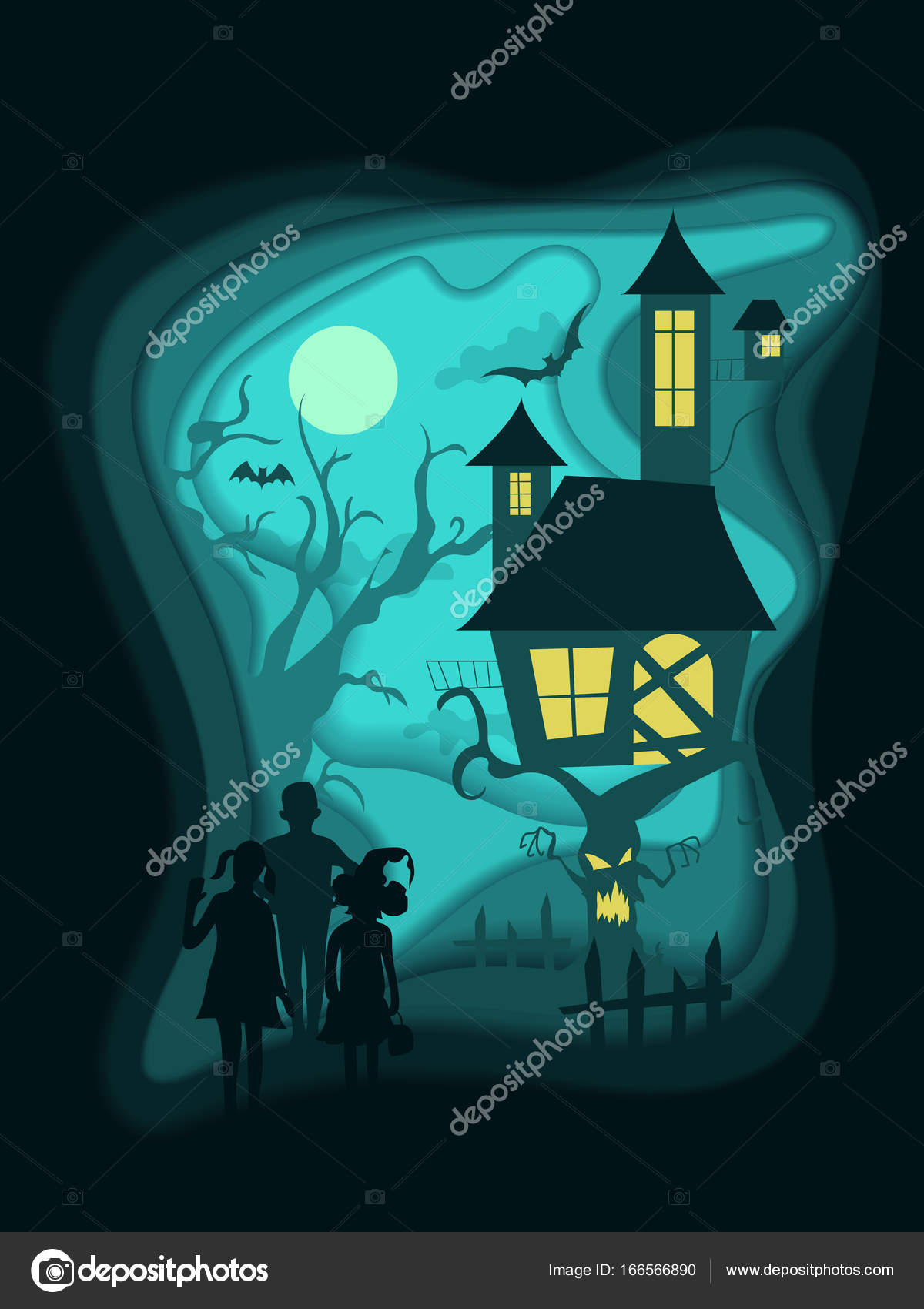 Halloween Night Background With Children Haunted House On Scary