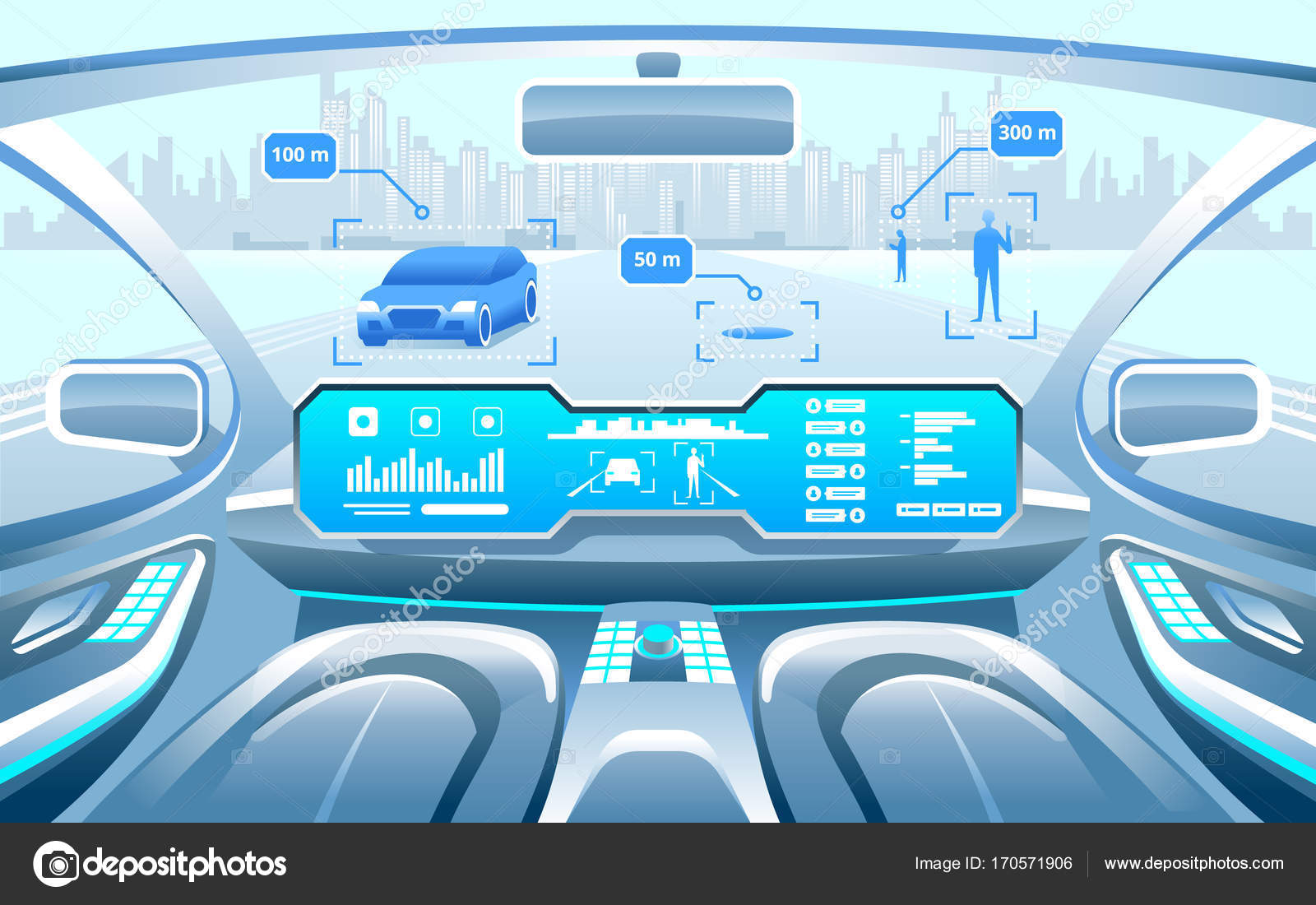 autonomous smart car interior car self driving in the city on the highway display shows. Black Bedroom Furniture Sets. Home Design Ideas