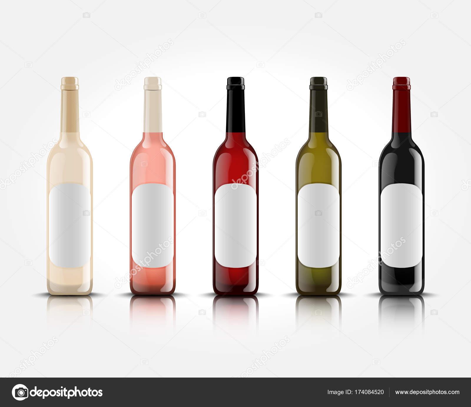 3D realistische Vektor Wein Flaschen auf weißem Hintergrund mit ...