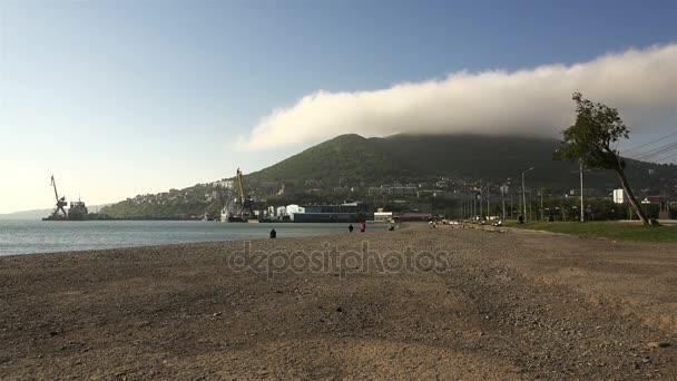 pobřeží rybářských přístavů a měst s ranní mlha nad horou