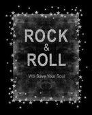 divat grafikai tervezés-a rock szlogen rock and roll póló, fekete háttér