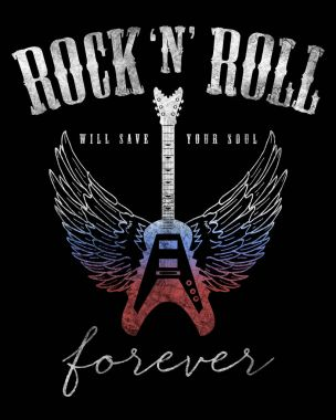 fashion graphic design with rock slogan rock and roll for t-shirt on black background