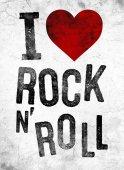 divat grafikai rock szlogenje: i love rock and roll póló elszigetelt fehér background